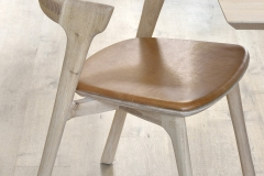 51488 Oak Bok dining chair with cognac leather seat