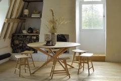50545 Oak Mikado round dining table & 53033 53035 Oak Osso stool_horizontal